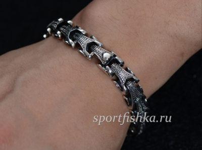 Мужской серебряный браслет на руку цена