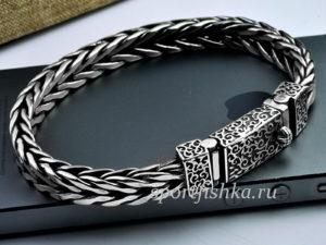 Мужской серебряный браслет, плетение колос, мужские подарки