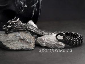 Мужской стальной браслет дракон