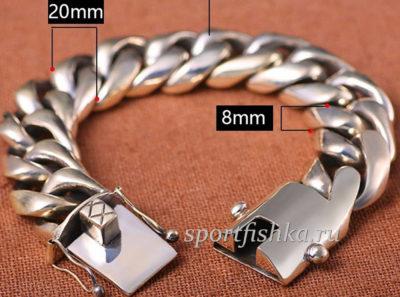 Огромный толстый серебряный браслет купить фото
