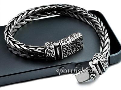 Оригинальные мужские серебряные браслеты, плетение колос