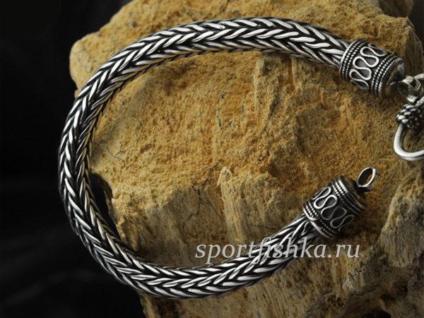Плетение колос, мужской браслет серебро