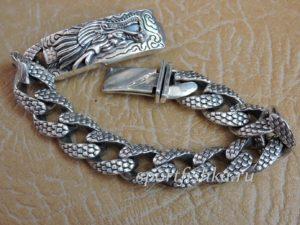 Подарок мужчине массивный серебряный браслет