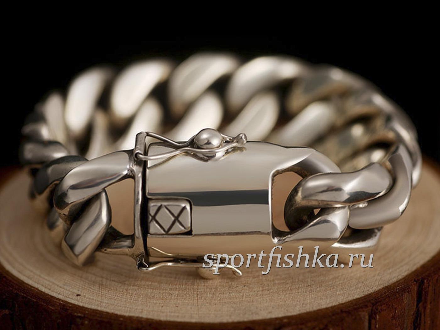 Подарок мужчине на др, большой серебряный браслет