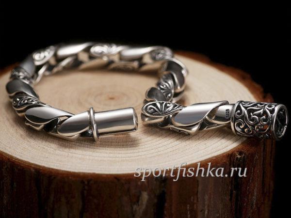 Подарок мужчине серебряный браслет круглый