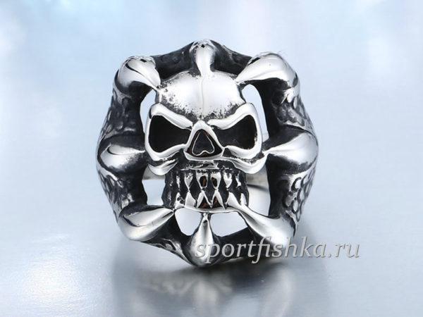 Стальное кольцо с черепом коготь