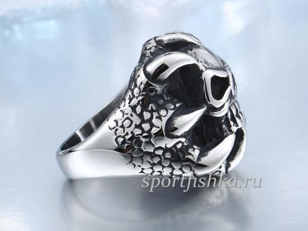 Стальное кольцо череп с когтем