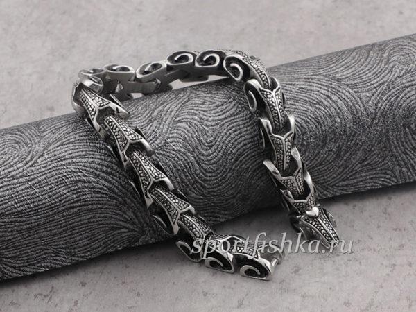 Стальной браслет змея дракон