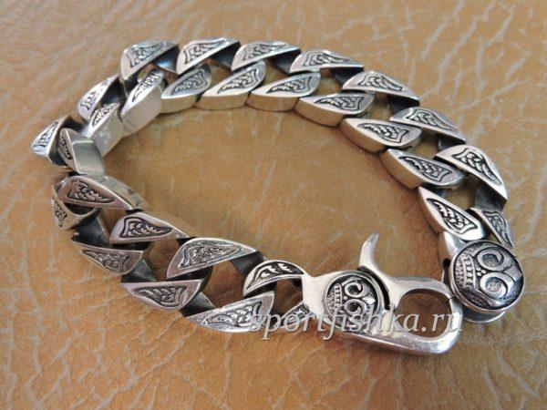 Толстый браслет из серебра купить