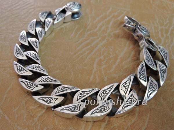 Толстый мужской браслет серебряный