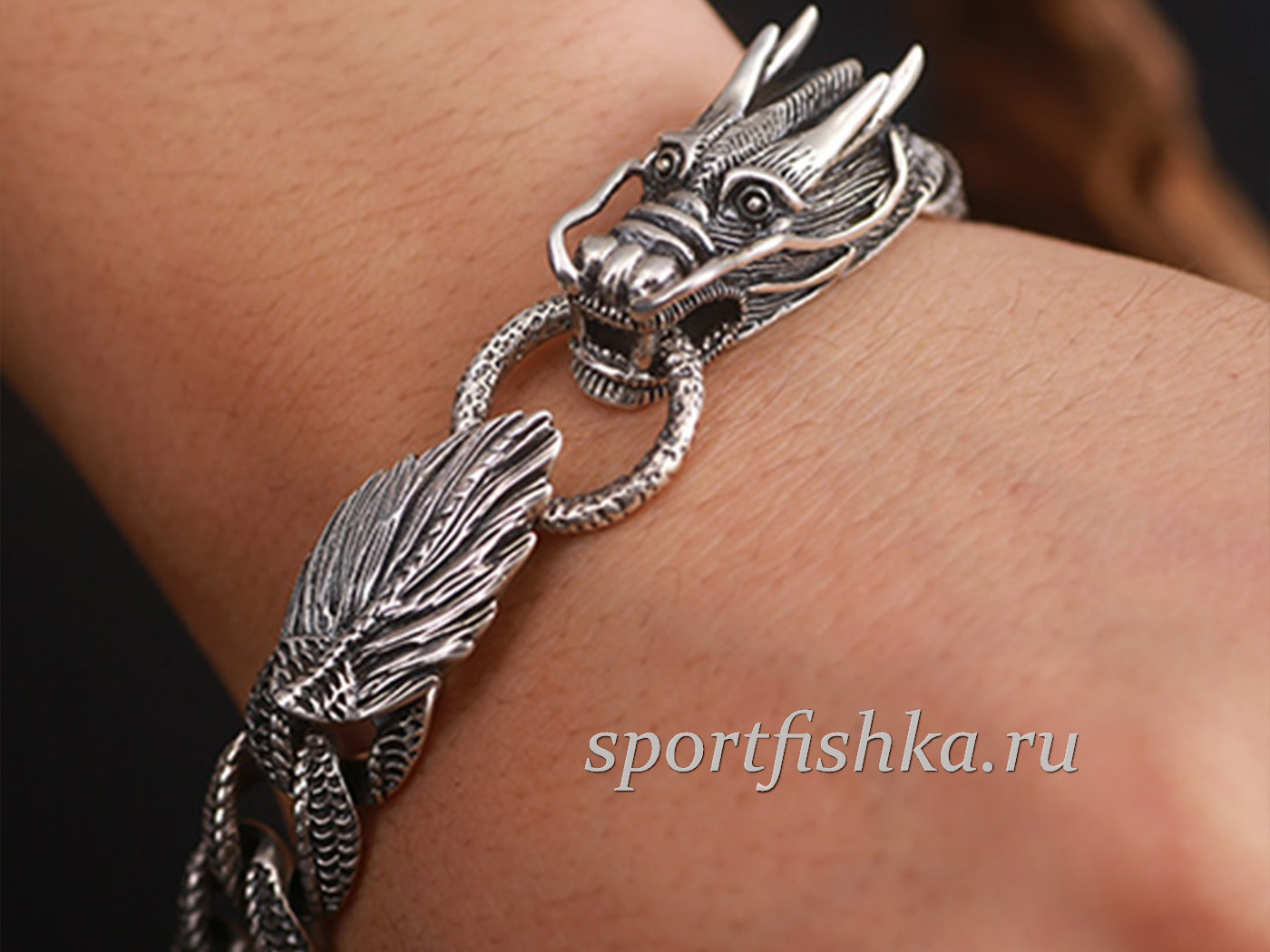 Толстый серебряный браслет мужской с драконами
