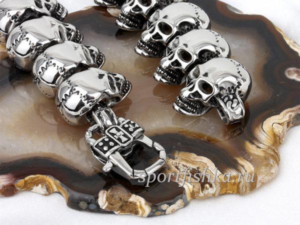Цепочка из черепов сталь купить