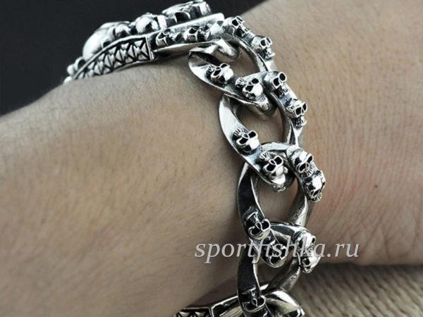 Черепа серебряный браслет мужской большой огромный толстый