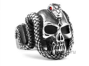 Череп змея кольцо