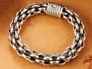 Широкий серебряный браслет мужской