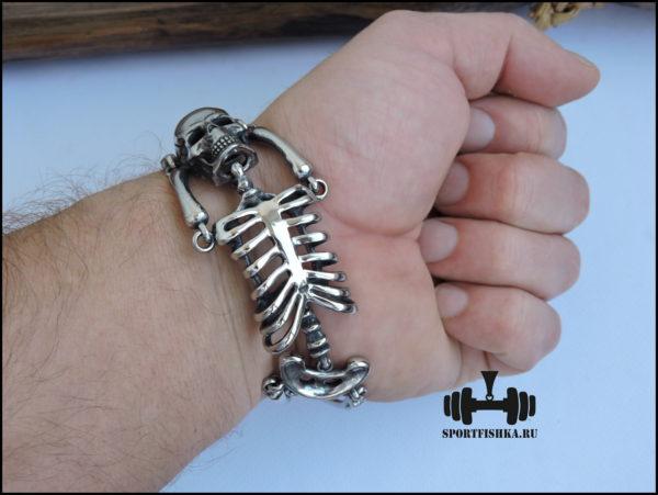 Стальной браслет скелет и череп для байкера