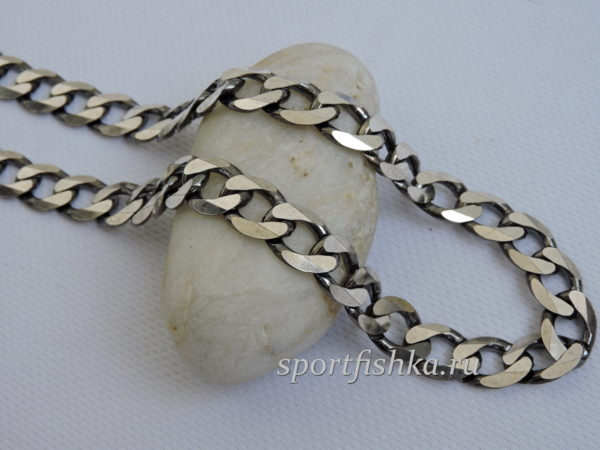 Большая серебряная цепочка панцирного плетения