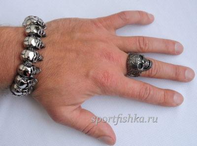 Кольцо браслет череп