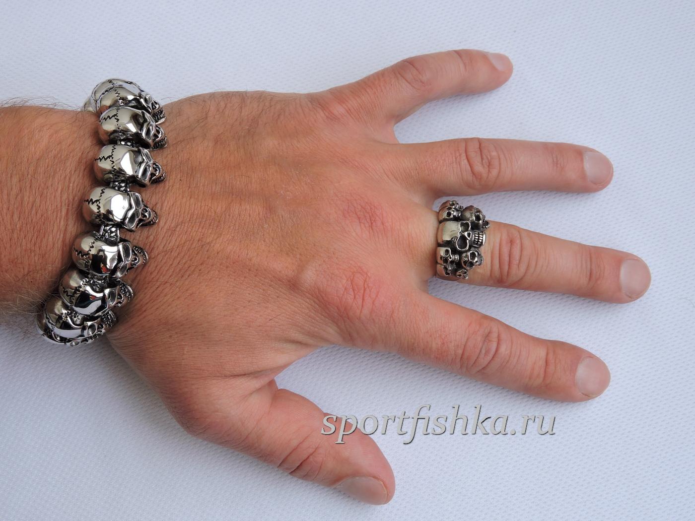 Кольцо с черепами из стали браслет