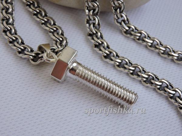 Кулон болт серебро подарки для механика, автослесаря