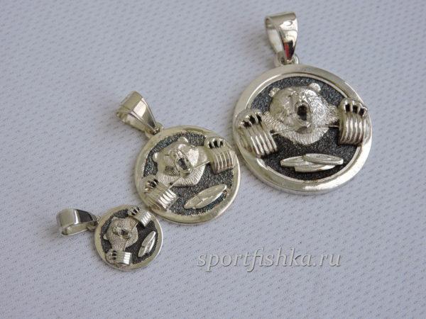Кулон медведь на мужской браслет Подарок девушке пауэрлифтеру