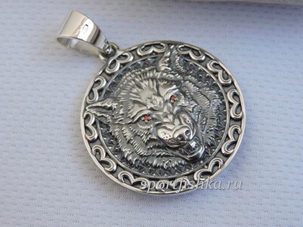 Кулон талисман волк серебро