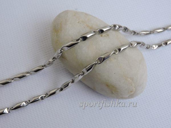 Оригинальная цепочка из стали и серебра