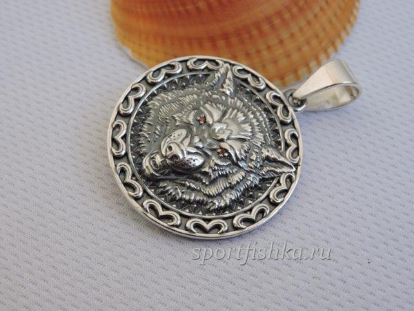 Подвеска оберег волк серебро