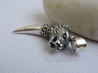 Серебряный зуб волка кулон оберег