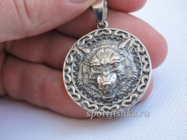 Серебряный талисман кулон волк