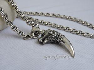 Цепочка бисмарк серебро кулон зуб волка