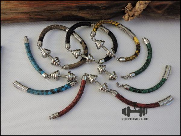 Спортивные подарки, браслет кожа змеи гантель