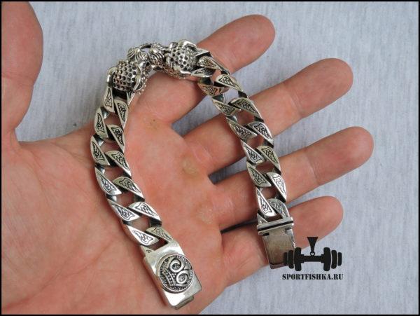 Браслет леопард из серебра