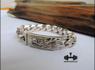 Браслет с драконом из серебра 925