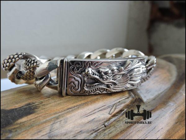 Браслет серебро 925 пробы дракон