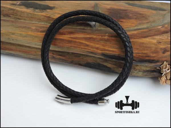 Черный кожаный шнурок на шею 6 мм