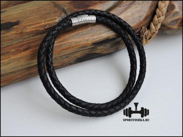 Черный толстый кожаный шнурок
