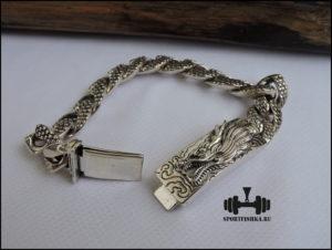 Дракона голова браслет из серебра купить