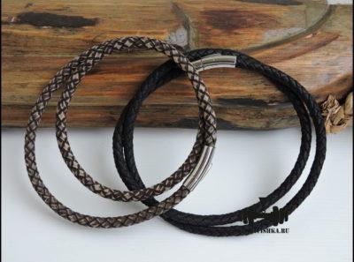 Кожаные шнурки 6 мм коричневый и черный
