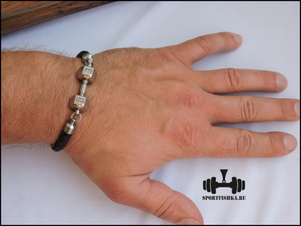 Подарок для тренера браслет кожа сталь