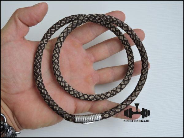 Толстый кожаный шнурок 8 мм