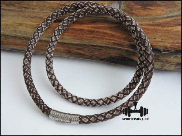 Толстый кожаный шнурок на шею 8 мм