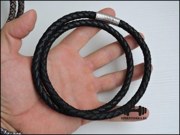 Толстый кожаный шнурок на шею черный