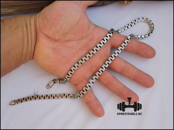 Цепочка греческого плетения, сколоченный якорь