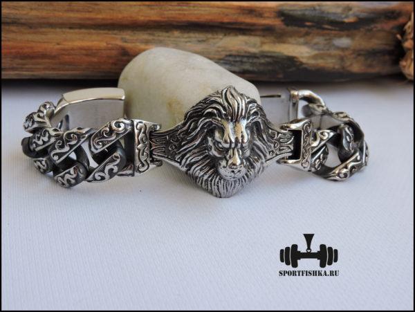 Большой браслет из стали со львом фото 01