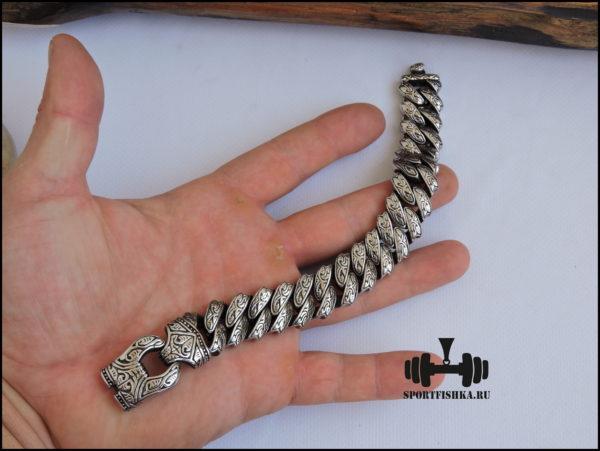 Стальной браслет мужской широкий фото 03