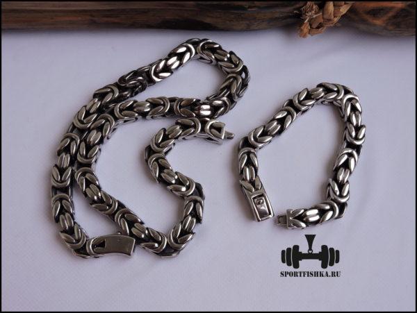 Большой браслет цепочка из стали