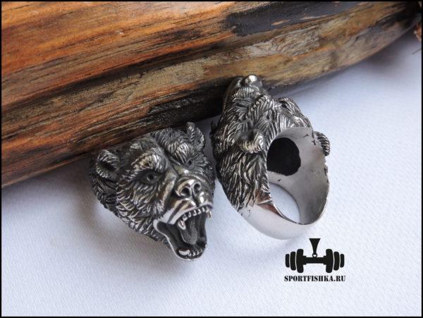 Кольцо с медведем из стали