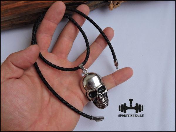 Кулон череп на кожаном шнурке
