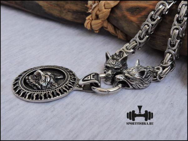 Цепочка и кулон волка из стали